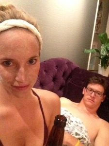 "This is what a ""staycation"" looks like at my house... clay face masks and beer."