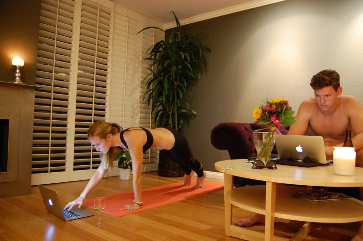 Sometimes, your only chaturanga is to turn up the volume on Netflix.