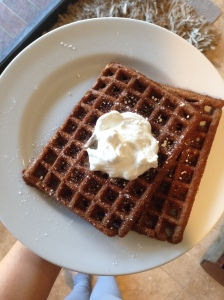 My mom made gingersnap waffles. She is a goddess.